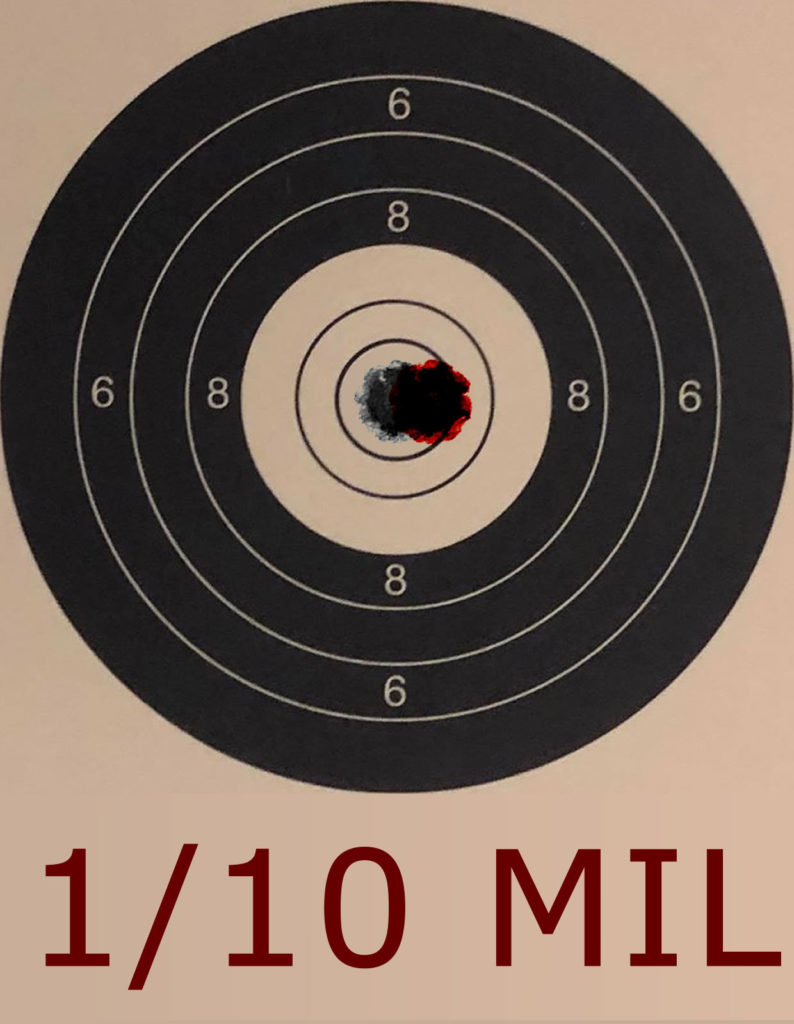 1/10 Mil Movement at 25 yards on an NSRA 10 Shot Bench Rest Target - Click Reference
