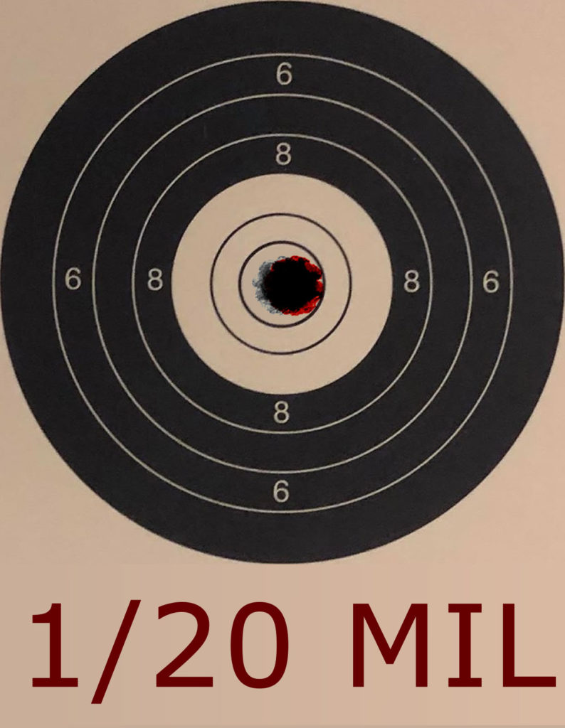 1/20 Mil Movement at 25 yards on an NSRA 10 Shot Bench Rest Target - Click Reference