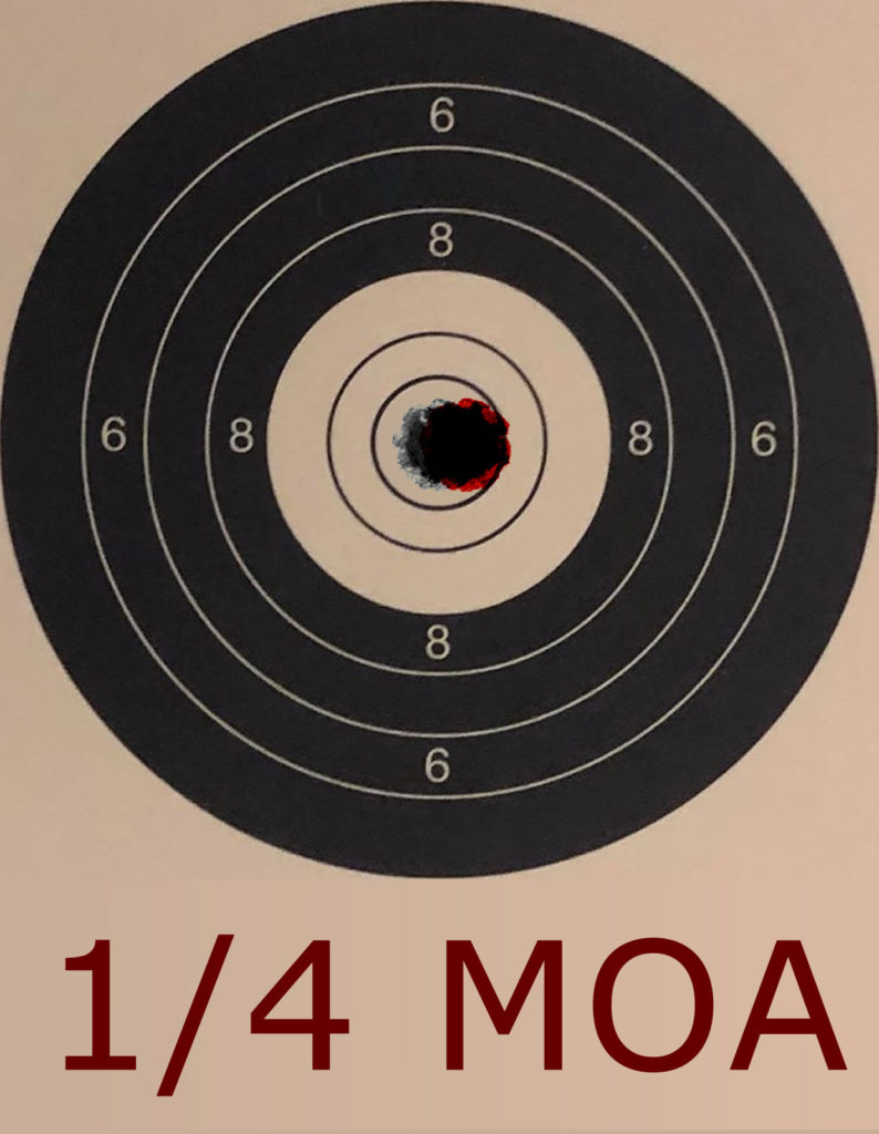 1/4 MOA Movement at 25 yards on an NSRA 10 Shot Bench Rest Target - Click Reference