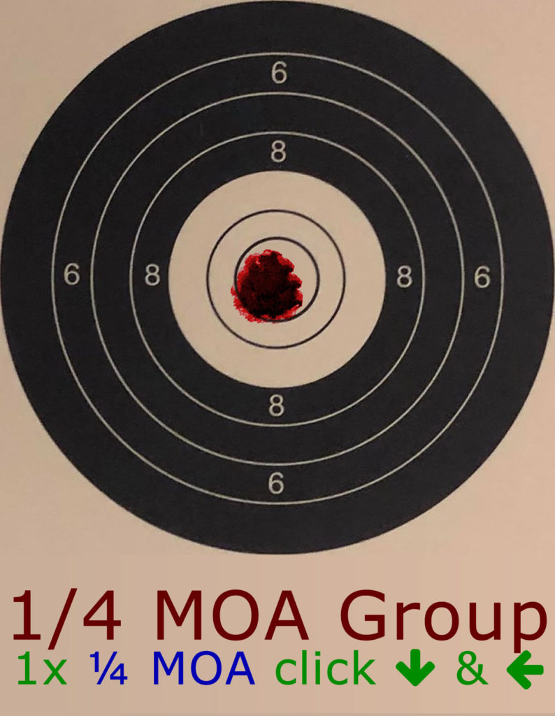 1/4 MOA Group adjusted by 1/4 MOA Clicks - Click Reference Image