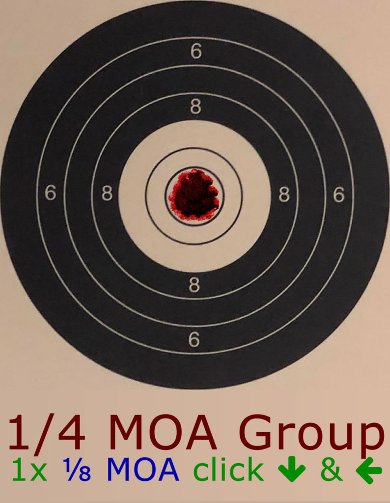 1/4 MOA Group adjusted by 1/8 MOA Clicks - Click Reference Image