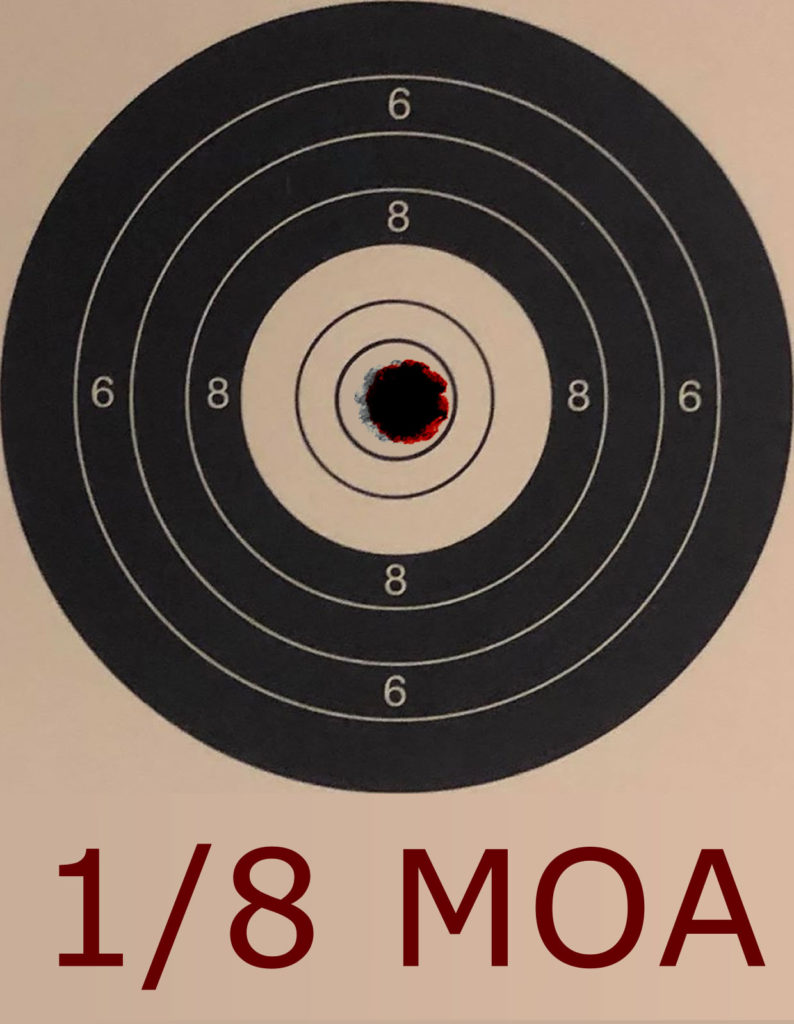 1/8 MOA Movement at 25 yards on an NSRA 10 Shot Bench Rest Target - Click Reference